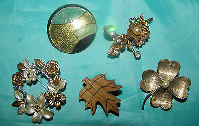 Fabulous Lot of 5 Different  Vintage Brooches or Pins