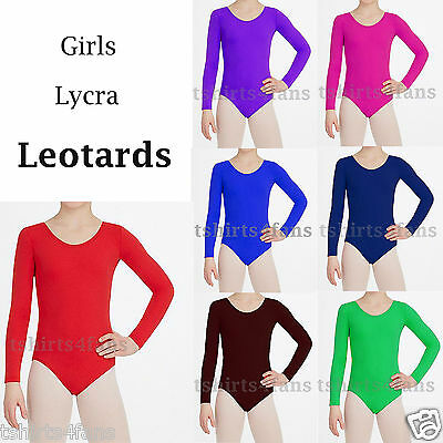 Girls Lycra Stretch Leotard   School PE  Dance Gymnastics Ballet Lycra Leotards