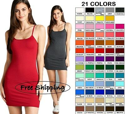 Women Basic Spaghetti Strap Long Camisole Tank Top Mini Dress S M L