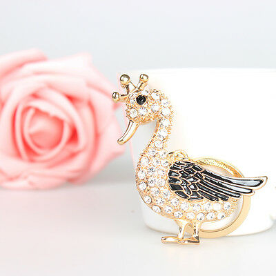 Duck Drake Goose Crown Pendent Charm Chain Rhinestone Crystal Purse Bag Key Ring
