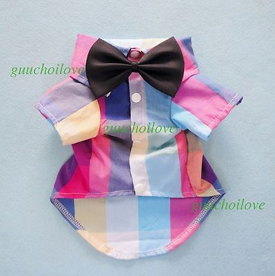 """13""""Chest Colorful Plaid Dog Shirt Small New Pet Clothes Cat Apparel + Black Bow"""