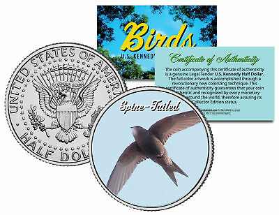 SPINE-TAILED *Collectible Birds* JFK Half Dollar Colorized US Coin PAPUAN SWIFT
