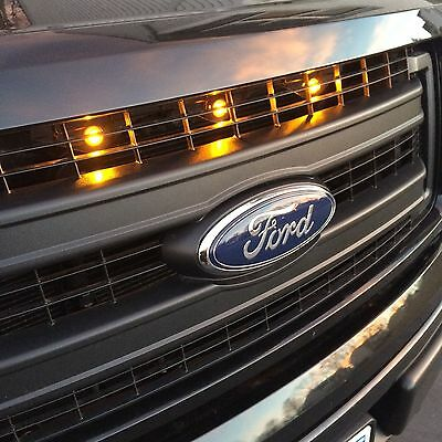 2013-2014 Ford F-150 Raptor Style Grill Clear Amber Light Kit XLT XL FX4 Truck