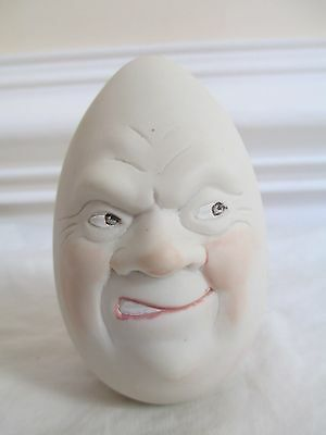 Nancy Wiley Porcelain Egg Head SIGNED Sneering Face - CHARMING!