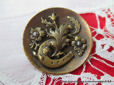 1948 - S – Gorgeous Large Old Brass Button w Horseshoe & Floral Motif Cut Steels