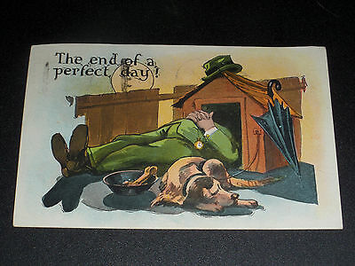 VINTAGE 1928 SERIES 735 FRUNKS & DESIGNS THE END OF A PERFECT DAY! DOG  POSTCARD