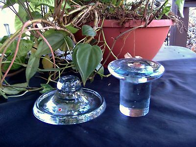 Lot 2 Vintage Blenko Clear Art Glass Handcrafted Candle Holders-Marked