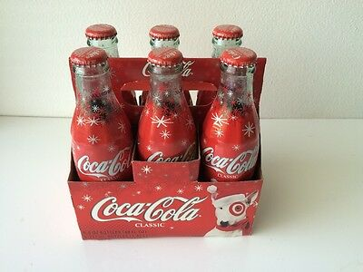 2004 COCA COLA BOTTLES 6 PACK 8 OZ. HOLIDAY TARGET LIMITED EDITION