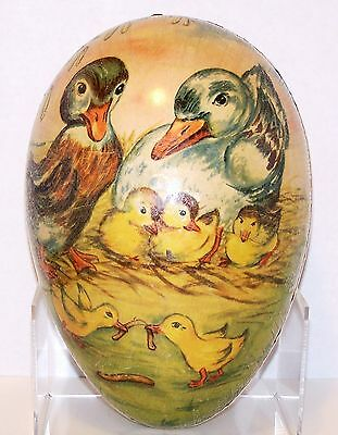 """10"""" GERMANY Duck Family&Worm Easter Egg PAPER MACHE Dresden Lace CANDY CONTAINER"""