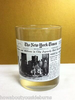 RE9 NEW YORK TIMES VINTAGE COCKTAIL DRINK BEER GLASS BICENTENNIAL GLASSWARE