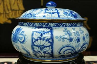 Large Vintage Chinese Blue White Porcelain Box With Solid Brass Trim