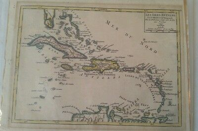 Antique chart of Lesser Antilles Caribbean Bahamas  1749 original