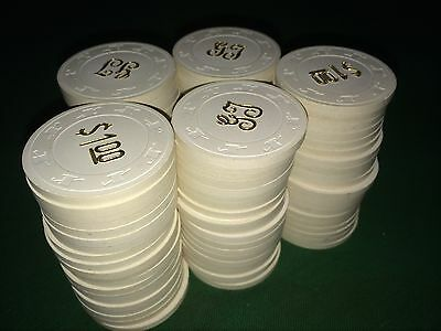 100 Paulson White Poker $1 Hot Stamped Chips Excellent Condition!