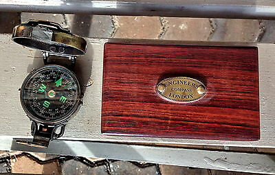Brass Engineers Compass with Rosewood Box