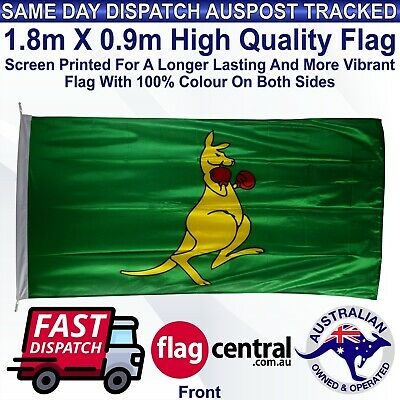 Boxing Kangaroo 1.8m x 0.9m Heavy Duty Outdoor Flag Knitted Polyester 6ft x 3ft