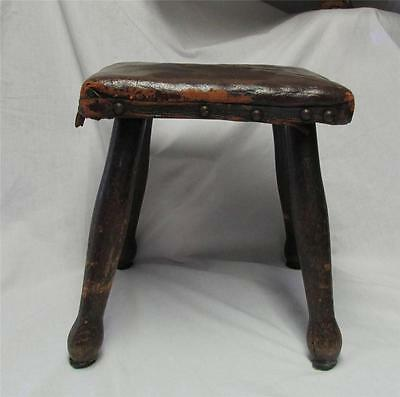 Antique Leather Covered Wooden Child's Stool - L@@K !!!