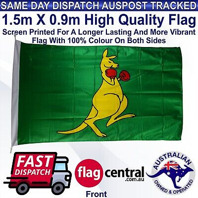 Boxing Kangaroo Flag 1.5m x 0.9m Outdoor Heavy Duty Knitted Polyester 5ft x 3ft