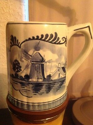 """Old Vintage Delfts Holland Hand Painted Beer Stein 5"""" Tall & 3.5"""" Diameter"""