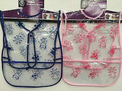 New kids pvc apron art smock blue or pink with pocket and press stud closure