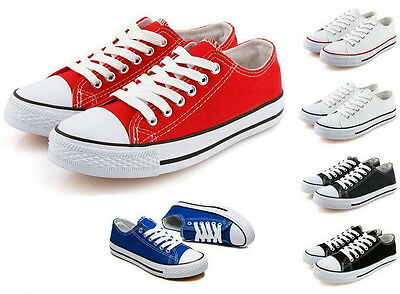 Women/Men's Classic Low Help Lace Up Canvas Stylish Flat Sneakers Plimsoll Shoes