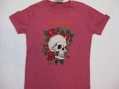 ED HARDY girls toddlers 4T pink Skull Roses rhinestones crystals t-shirt tee top