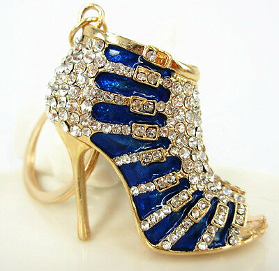 Blue Shoe High Heel Charm Pendant Crystal Purse Bag Keyring Key Chain Accesories