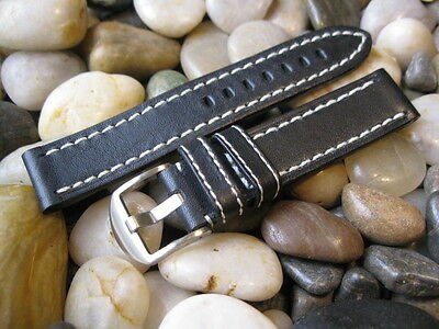 20mm Hadley Roma MS2040 Black Genuine Leather Watch Band! Hand Made USA! strap