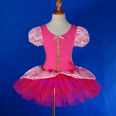 Hot Pink Puff Sleeves Ballet Tutu + Headband Dancewear Fairy Dress Sz 2T-8 BA051