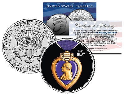 PURPLE HEART MEDAL Colorized JFK Kennedy Half Dollar Coin Collectible MILITARY