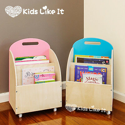 PINK or BLUE KIDS Childrens Wooden Book DISPLAY SHELF TOY Storage UNIT w/ WHEELS