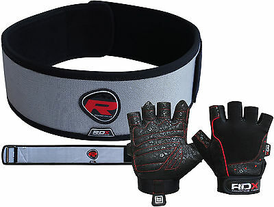 RDX Bodybuilding Weight Lifting Gloves with Belt Gym Strap Training Back Support