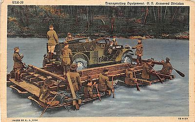 Military postcard Transporting Equipment U.S. Armored Division Army linen 1942