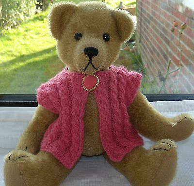 "*Bear knits* Hand Knitted pink waistcoat to fit ""11"" teddy bear"