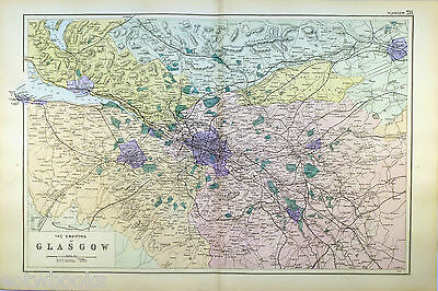 ENVIRONS of GLASGOW - Original Large Antique Map -  G.W.BACON  -  1898.