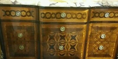 French Louis XV style marquetry Comode  bronze inlaid marble top 19th century