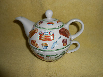 """Royal Worcester """"Tea For One"""" Baking Day Ceramic Coffee Tea Pot/Cup Very Nice cc"""