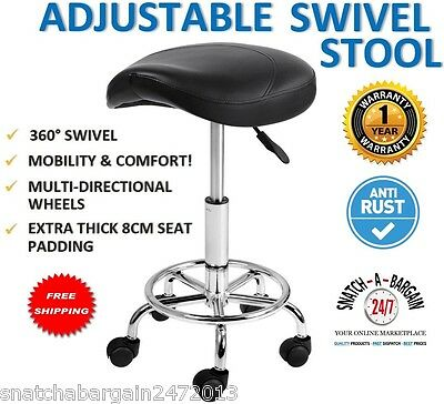 NEW Saddle PU Swivel Gas Lift Stool Black Hairdresser Medical Clinic Salon Chair