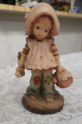 """Anri Valentine Sarah Kay Wood Carving"""" Flowers For You"""" Limited Edition"""