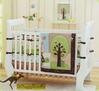 New Baby Girls Boys 7 Pieces Cotton Nursery Bedding Crib Cot Sets-- Green Tree