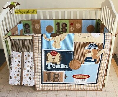New Baby Boys 5 Pieces Cotton Nursery Bedding Crib Cot Sets-- Sports Term