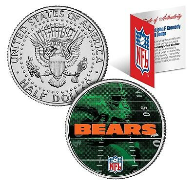 CHICAGO BEARS Field JFK Kennedy Half Dollar US Colorized Coin * NFL Licensed *
