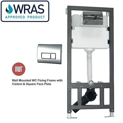 Wall Mounted Toilet Fixing Frame inc Cistern & Square Chrome Face Plate