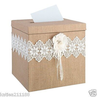 New wedding vintage burlap hessian lace rustic country post cards box