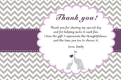 30 Elephant Thank You Card Note Personalized Purple Grey Chevron Baby Shower D1