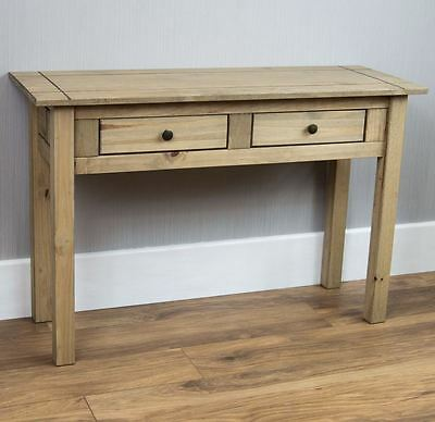Panama Natural Waxed Pine Console Table 2 Drawer Dressing Make Up Desk New
