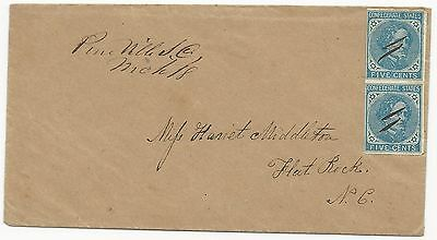 CSA Scott #7 Pair on Cover Pineville, SC March 18 Middleton Correspondence VF
