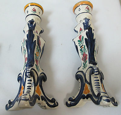 French faience HB Quimper  Candle stick holders