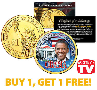 BARACK OBAMA Presidential $1 Dollar Coin Gold Plated *AS SEEN ON TV* BUY 1 GET 1