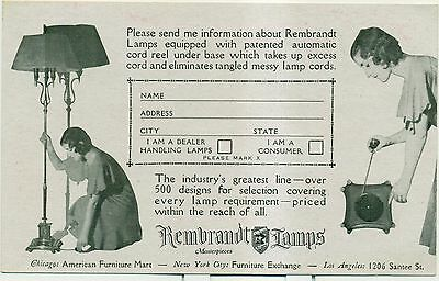 1920's Rembrandt Lamps Advertising Postal Card - Chicago,IL