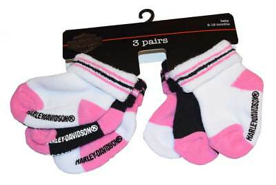 Harley-Davidson Baby Girls' Socks, Three Pack, Pink/Black/White S9AGI63HD